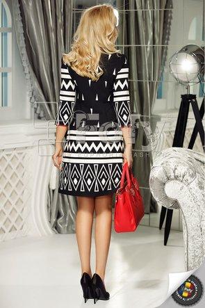 Rochie neagră cu print geometric