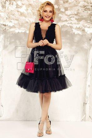 Rochie neagră de ocazie din tulle și broderie 3D