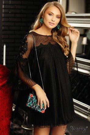 Rochie neagră de ocazie scurtă cu detalii pe mâneci