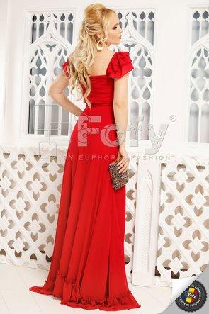 Rochie roșie elegantă cu bust cu fronseuri
