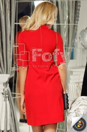 Rochie roșie elegantă cu fundă și perle