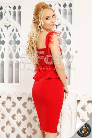 Rochie roșie midi cu paiete și fulgi