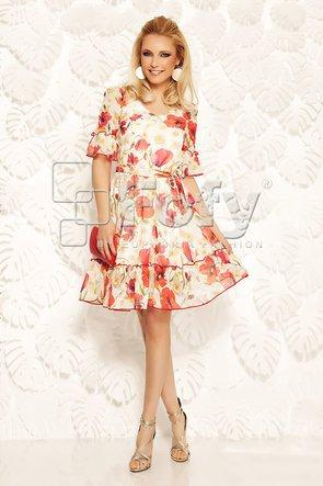 Rochie vaporoasă cu imprimeu floral cu maci