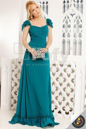 Rochie verde elegantă cu bust cu fronseuri