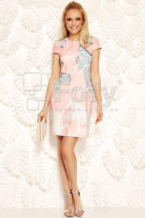 Rochie versatilă roz cu imprimeu artistic și broșă detașabilă