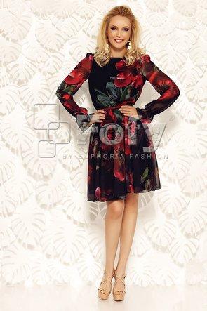 Rochie voal negru imprimată cu flori mari roșii