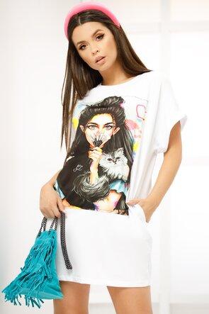Rochita de vara alba stil tricou imprimeu cu pisica masura unica