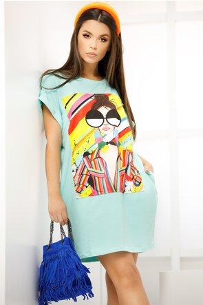 Rochita de vara turcoaz stil tricou imprimeu ochelari maxi