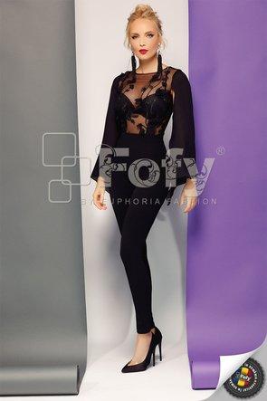 Salopetă elegantă neagră cu bust din tulle