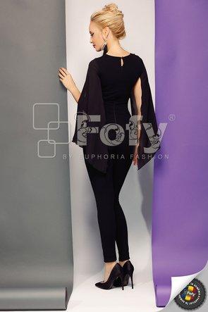 Salopetă de dama elegantă neagră cu bust din tulle