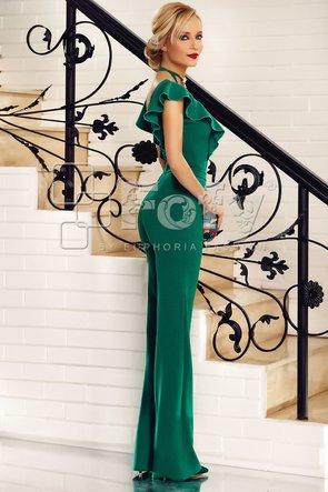 Salopetă elegantă verde cu choker