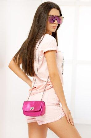 Tricou roz imprimeu foto  cu aplicatii paiete maxi