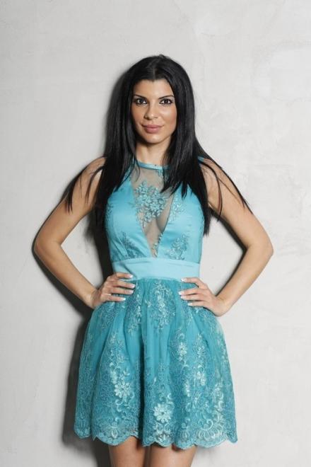 ROCHIE DAMA BLUE PRINCESS DRESS DIN DANTELA