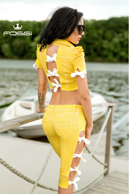 JACHETA DAMA METALLIC YELLOW DENIM DIN COLECTIA FOGGI HOT SUMMER