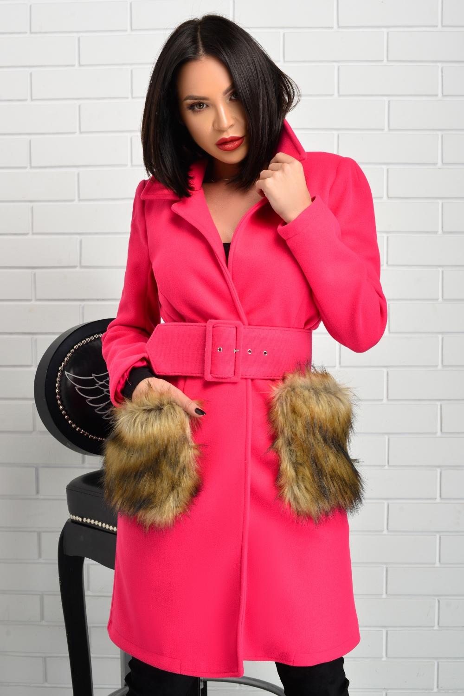 Palton dama colorat DROP OF PINK MAGIC cu buzunare aplicate din blana ecologica