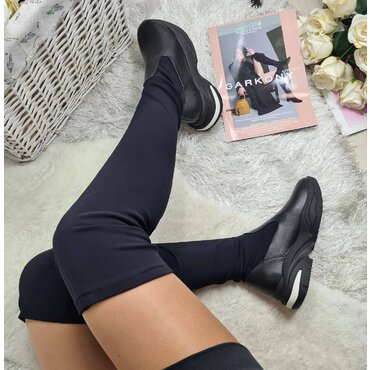 Cizme peste genunchi negre Darina