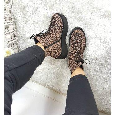 Ghete dama din piele imprimeu leopard Adoris