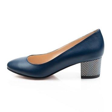 Pantofi albastru indigo cu imprimeu pe toc din piele naturala Elisabeta