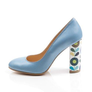 Pantofi bleo din piele naturala cu toc imprimeu Joli