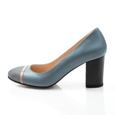 Pantofi bleu cu imprimeu din piele naturala Dali