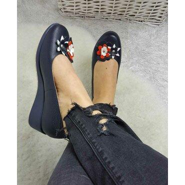Pantofi bleumarin din piele naturala Ara F
