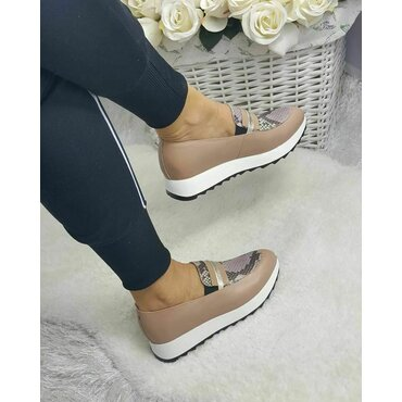 Pantofi casual bej din piele naturala cu imprimeu sarpe Klara