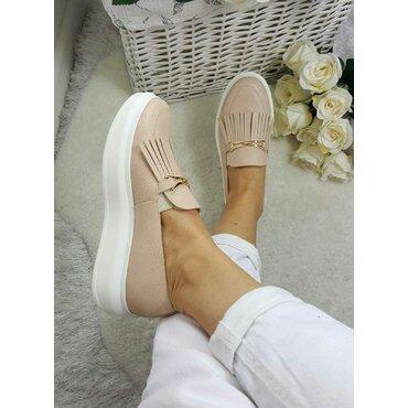 Pantofi casual bej Klara cu accesoriu si franjuri