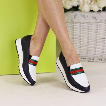 Pantofi casual bleumarin cu alb din piele naturala Klara 88
