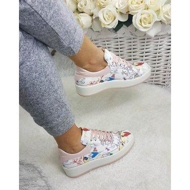 Pantofi casual din piele naturala imprimeu Alesia 6015