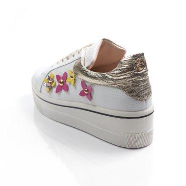 Pantofi casual piele alba cu auriu Alesia cu floricele