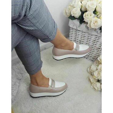 Pantofi casual sport roz pal din piele naturala Klara