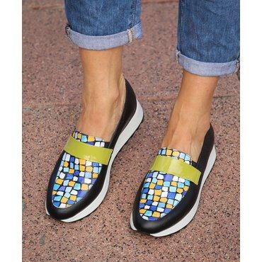 Pantofi dama negri cu imprimeu color Klara