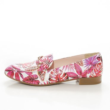 Pantofi de dama imprimeu floral fuxia Felicia