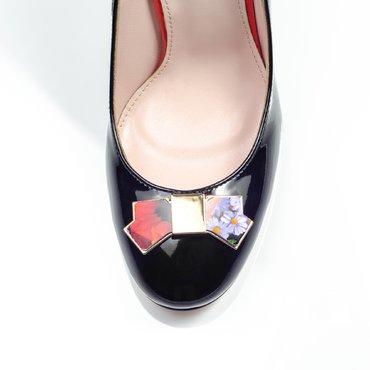 Pantofi de dama lac negru Joli cu funda Agnes