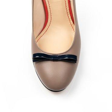 Pantofi de dama piele bej Merci cu fundita