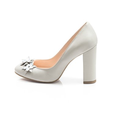 Pantofi de dama piele gri Joli cu flori