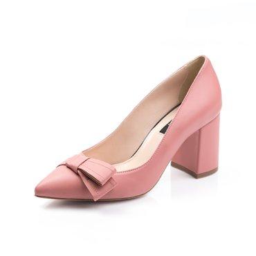 Pantofi de dama piele roze somon Good cu funda GF1