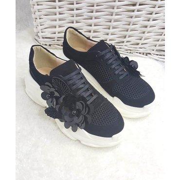 Pantofi de dama sneakers negri din piele naturala cu aplicatii florale Lory