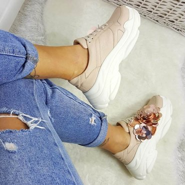 Pantofi de dama sneakers nud din piele naturala Lory