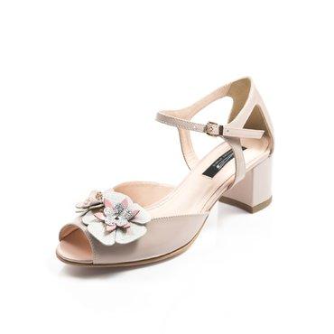 Pantofi decupati de dama lac nude Mini cu aplicatii florale