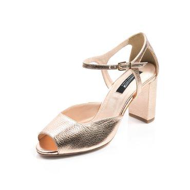 Pantofi decupati Iris piele aramie cu toc gros