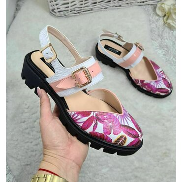 Pantofi din piele naturala roz Fly