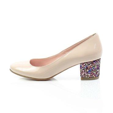 Pantofi Elisabeta lac nude cu glitter