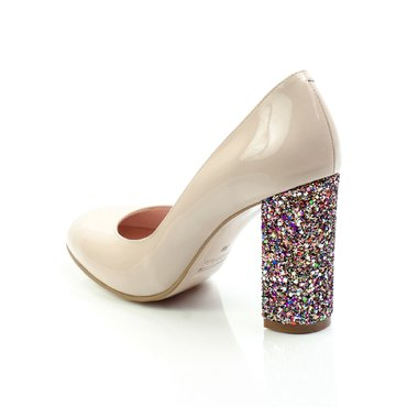 Pantofi lac nude Joli cu toc glitter