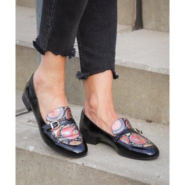 Pantofi negri cu imprimeu Felicia
