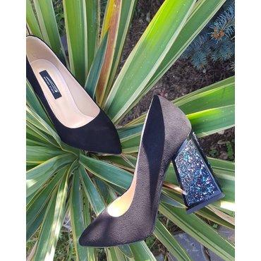 Pantofi negrii cu gliter din piele naturala Trend 2