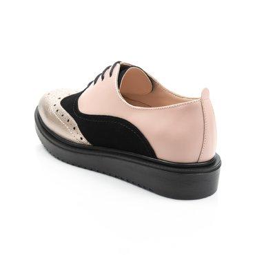 Pantofi oxford auriu cu negru si nude din piele naturala Young