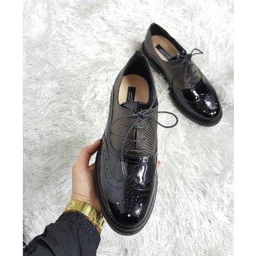 Pantofi oxford negru cu presaj bronz Young