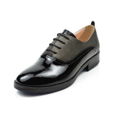 Pantofi oxford negru cu verde din piele lacuita Young Office