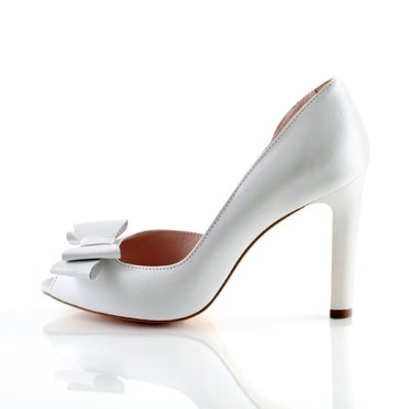 Pantofi Peep Toe Piele Alba sidefata Ina cu fundita